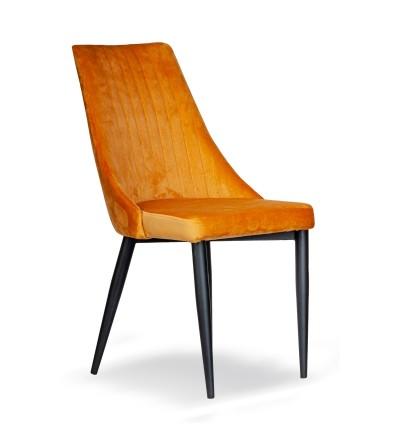 AGATKA MUSZTARDOWE krzesło tapicerowane velvet