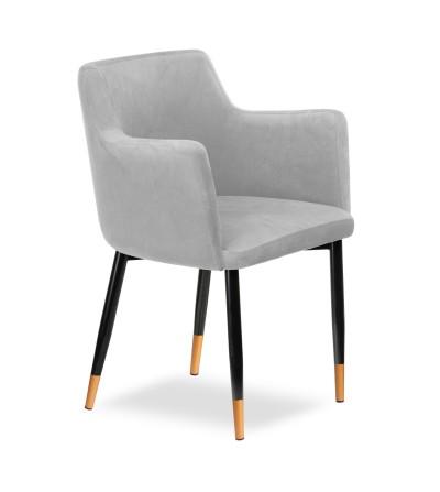BARI JASNO SZARE krzesło tapicerowane velvet