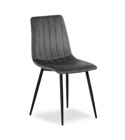 EVAN CIEMNO SZARE krzesło tapicerowane velvet