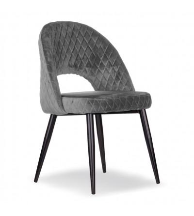 AMBER SZARE krzesło tapicerowane velvet