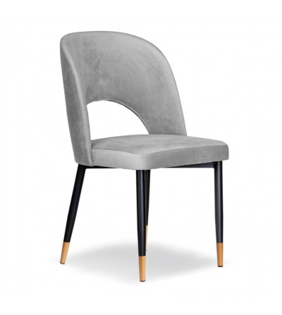 ZOYA JASNO SZARE krzesło tapicerowane velvet