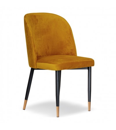 AMY MUSZTARDOWE krzesło tapicerowane velvet
