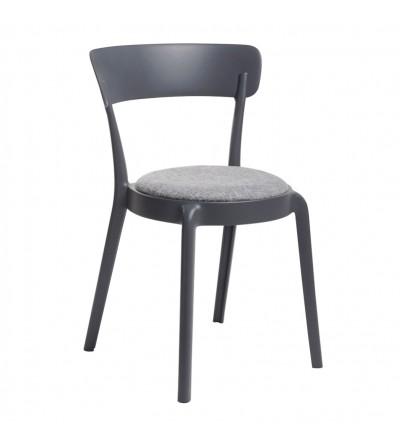 FLUFFI GRAFITOWE krzesło tapicerowane VELVET
