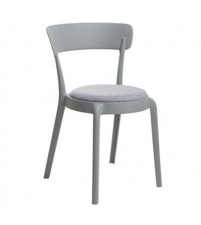 FLUFFI SZARE krzesło tapicerowane VELVET