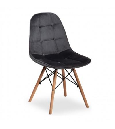 NINA SZARE krzesło tapicerowane velvet