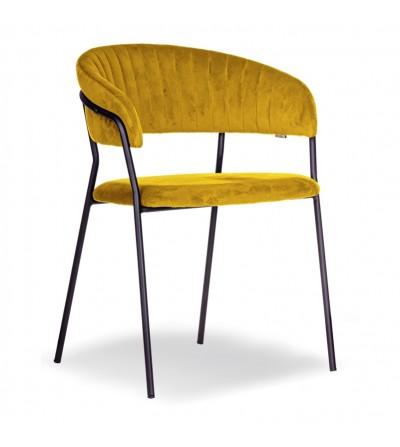 FEBA ŻÓŁTE krzesło tapicerowane velvet