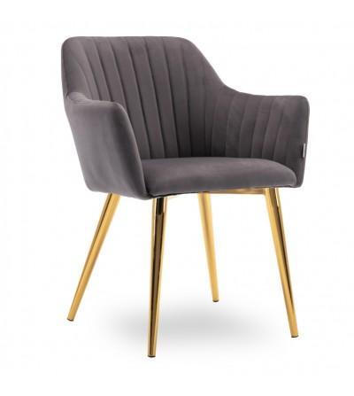 LAURA CIEMNO SZARE krzesło tapicerowane velvet