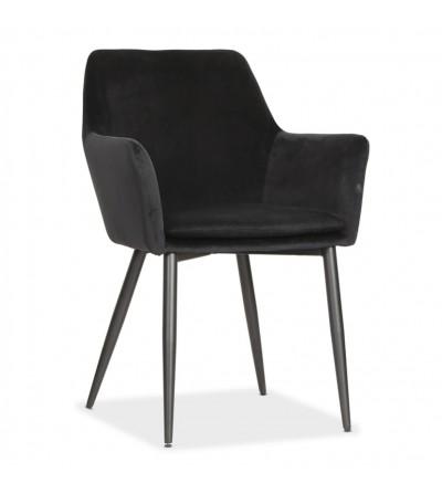VIKTOR CZARNE krzesło tapicerowane VELVET