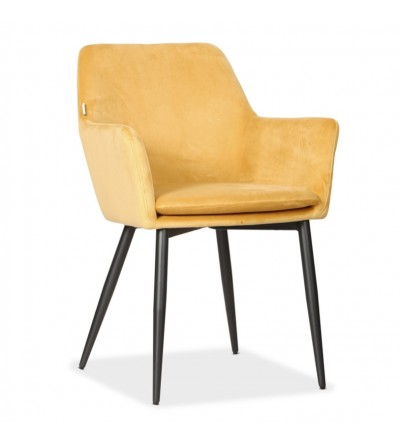 VIKTOR MUSZTARDOWE krzesło tapicerowane VELVET