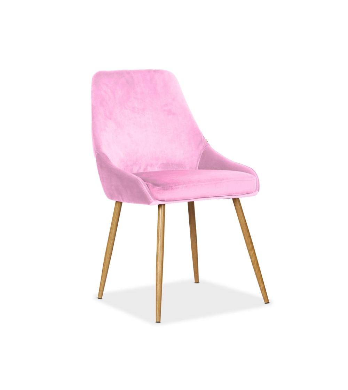 RINO RÓŻOWE krzesło tapicerowane velvet