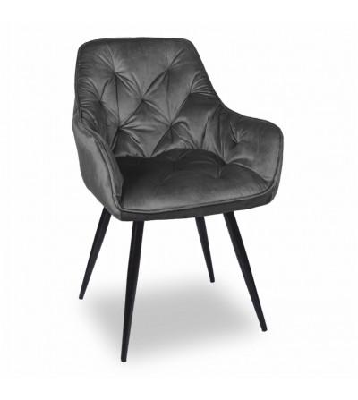 LONDON SZARE krzesło tapicerowane velvet