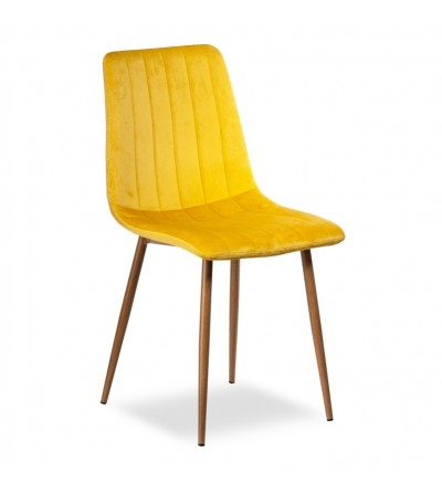EVAN ŻÓŁTE krzesło tapicerowane velvet