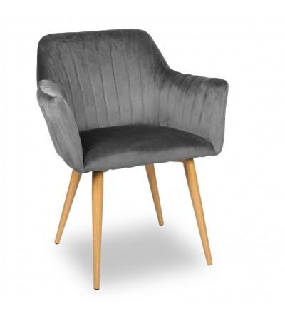 LAURA SZARE krzesło tapicerowane velvet