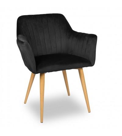 LAURA CZARNE krzesło tapicerowane velvet