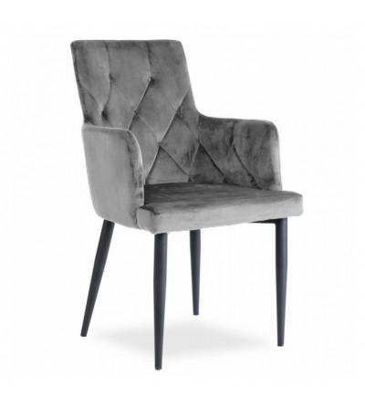 CAREN II SZARE krzesło tapicerowane velvet
