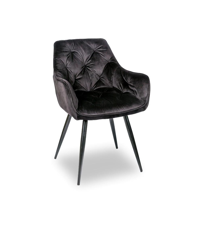 LONDON CZARNE krzesło tapicerowane velvet