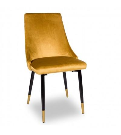 OSCAR MUSZTARDOWE krzesło tapicerowane velvet