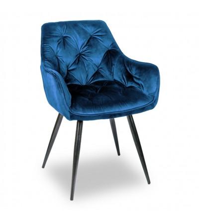 LONDON GRANATOWE krzesło tapicerowane velvet