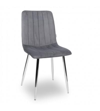 EVAN SZARE krzesło tapicerowane velvet