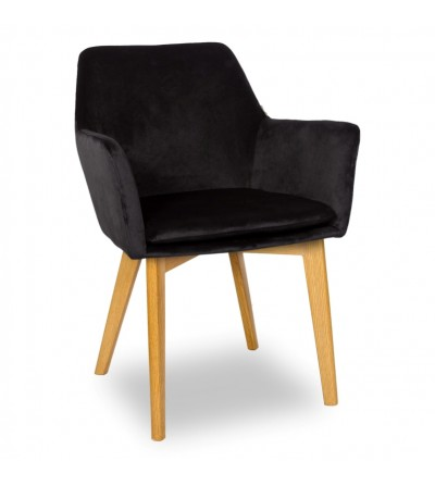 MOSSO CZARNE krzesło tapicerowane VELVET