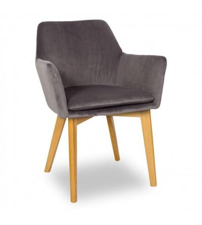 MOSSO SZARE krzesło tapicerowane VELVET