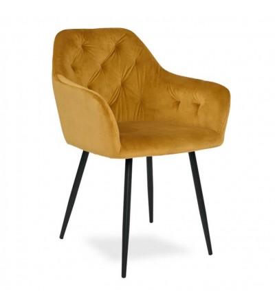 LIZA MUSZTARDOWE krzesło tapicerowane velvet