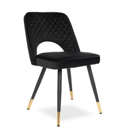 SOFIA CZARNE krzesło tapicerowane velvet