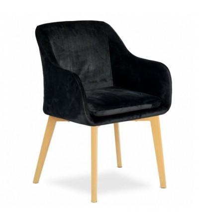 IVO CZARNE krzesło tapicerowane velvet DĄB
