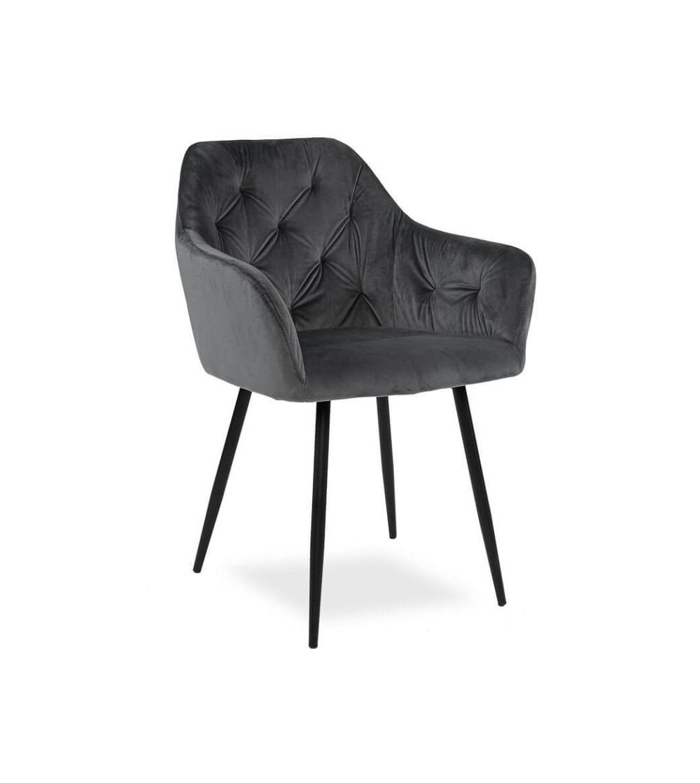 LIZA SZARE krzesło tapicerowane velvet