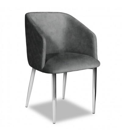 VINCENT 2 SZARE krzesło tapicerowane velvet