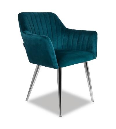 LAURA TURKUSOWE krzesło tapicerowane velvet