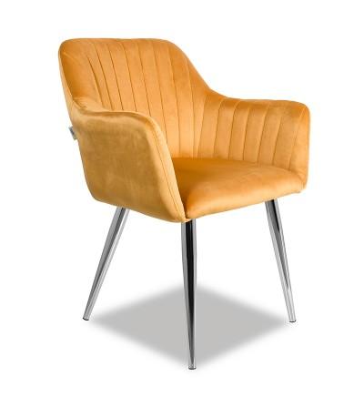 LAURA MUSZTARDOWE krzesło tapicerowane velvet