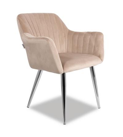 LAURA BEŻOWE krzesło tapicerowane velvet