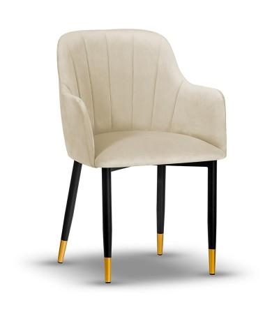 IVETT BEŻOWE krzesło tapicerowane velvet