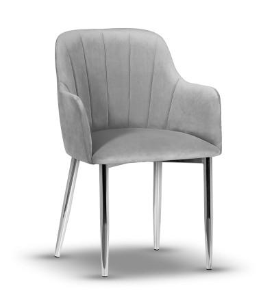IVETT SZARE krzesło tapicerowane velvet