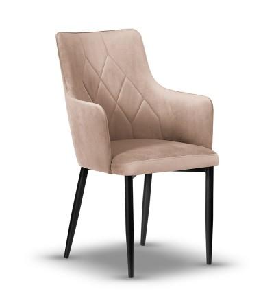 CAREN II BEŻOWE krzesło tapicerowane velvet
