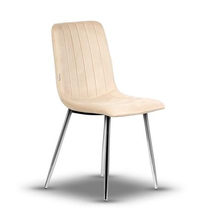 EVAN BEŻOWE krzesło tapicerowane velvet