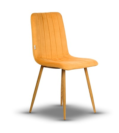 EVAN MUSZTARDOWE krzesło tapicerowane velvet