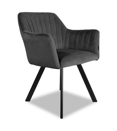LAURA 2 CIEMNO SZARE krzesło tapicerowane obrotowe velvet