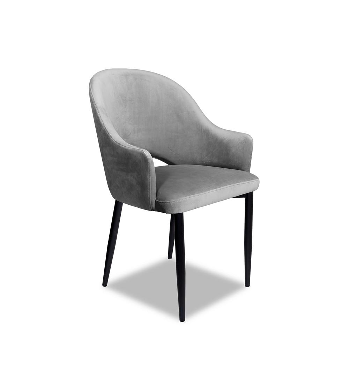 GLORIA SZARE krzesło tapicerowane velvet