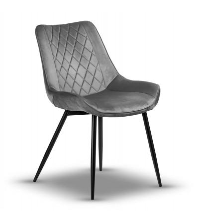 ADELLA CIEMNY SZARY krzesło tapicerowane velvet