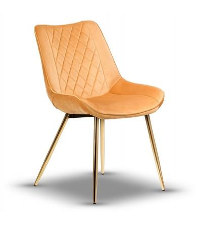 ADELLA MUSZTARDOWE krzesło tapicerowane velvet