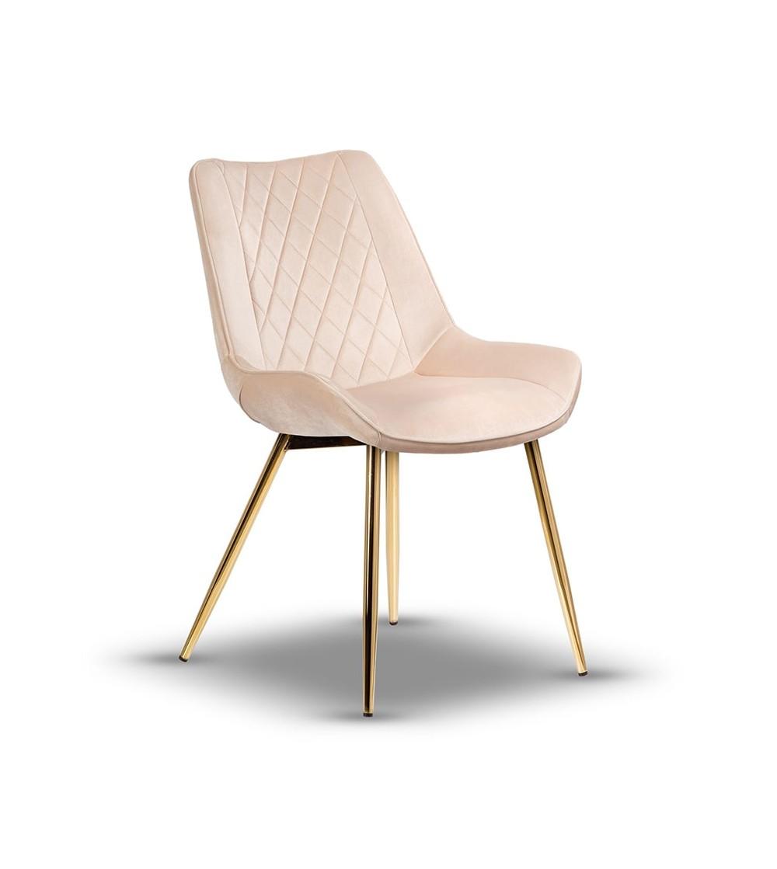 ADELLA BEŻOWE krzesło tapicerowane velvet