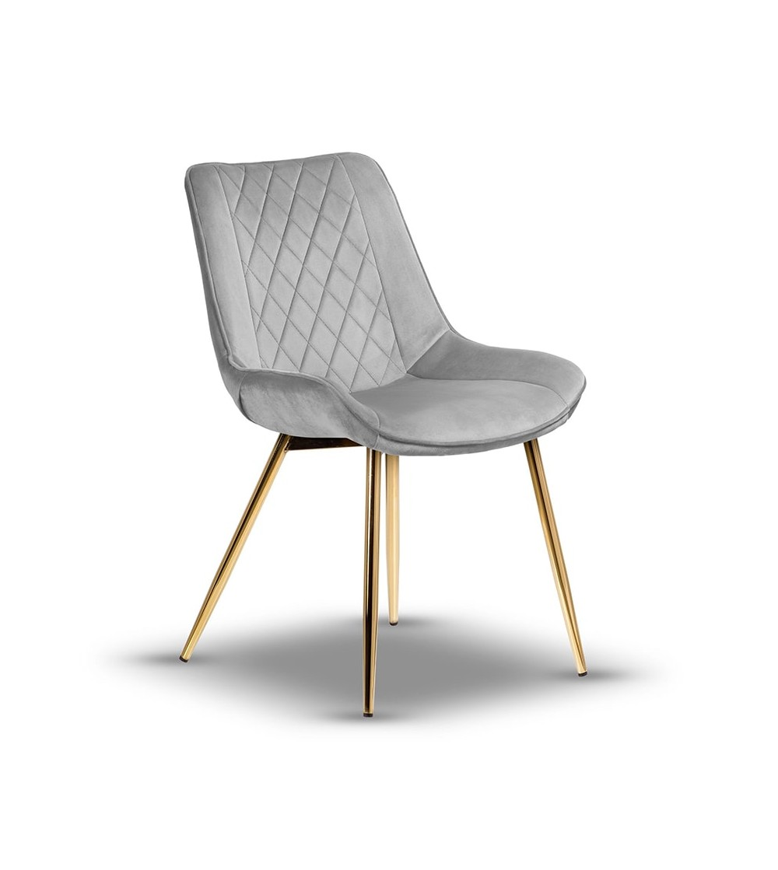 ADELLA JASNY SZARY krzesło tapicerowane velvet