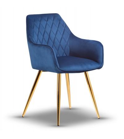 LOGAN GRANATOWE krzesło tapicerowane velvet