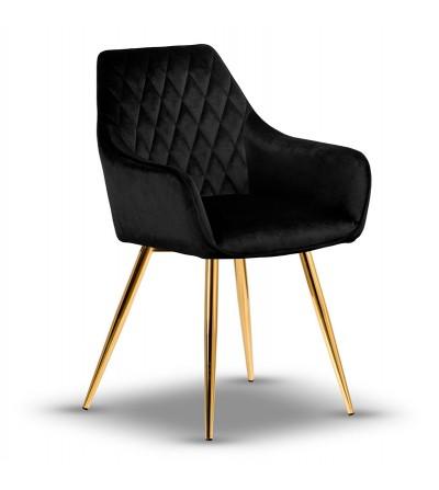 LOGAN CZARNY krzesło tapicerowane velvet