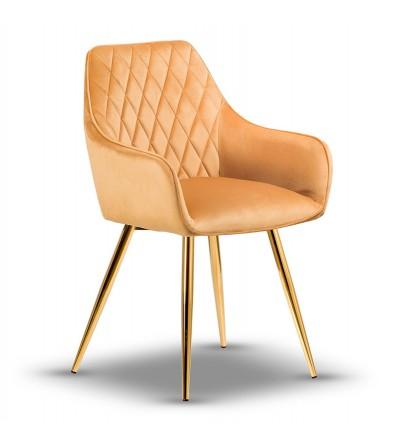 LOGAN MUSZTARDOWE krzesło tapicerowane velvet