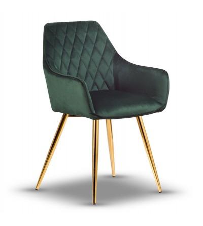LOGAN ZIELONE krzesło tapicerowane velvet