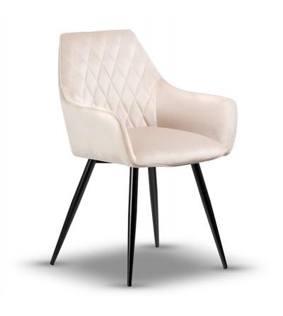 LOGAN BEŻOWE krzesło tapicerowane velvet