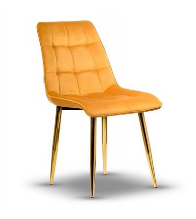 IKAR MUSZTARDOWE krzesło tapicerowane velvet